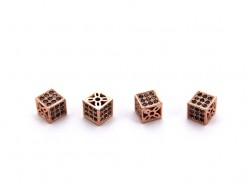 6x6 mm KÜP ZİRCON TAŞ BİLEKLİK ve KOLYE AKSESUARI, ROSE - Thumbnail